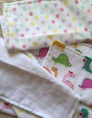 Baby Burp Cloths pack of 3 Dinosaurs or spotty