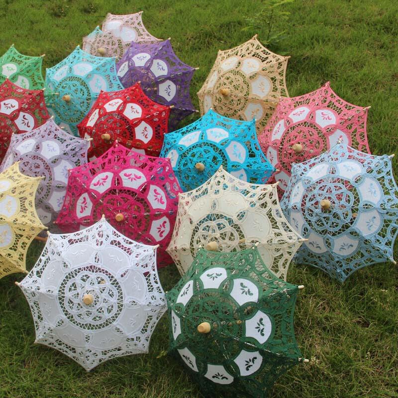 Women Lace Parasol Umbrella Handmade Cotton Canopy Wedding Party Decor Accessory