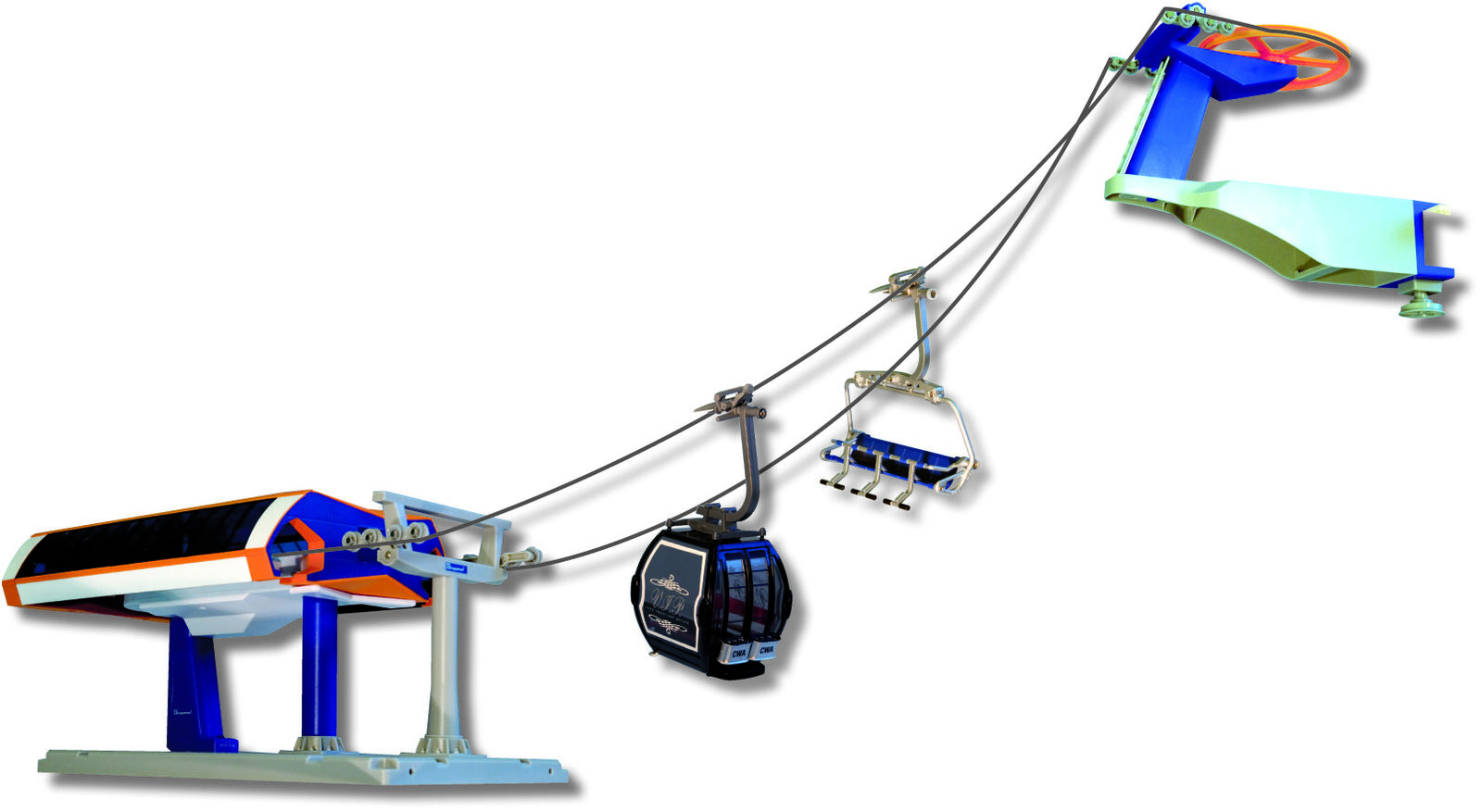 Jägerndorfer JC84390 - Seggio-cabinovia elettrica  scala 1:32 arancione/blu