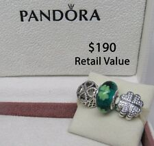 New w/Box Pandora Gift Set of 3 Charms Loving an Irish Lass Kiss Me I'm Irish