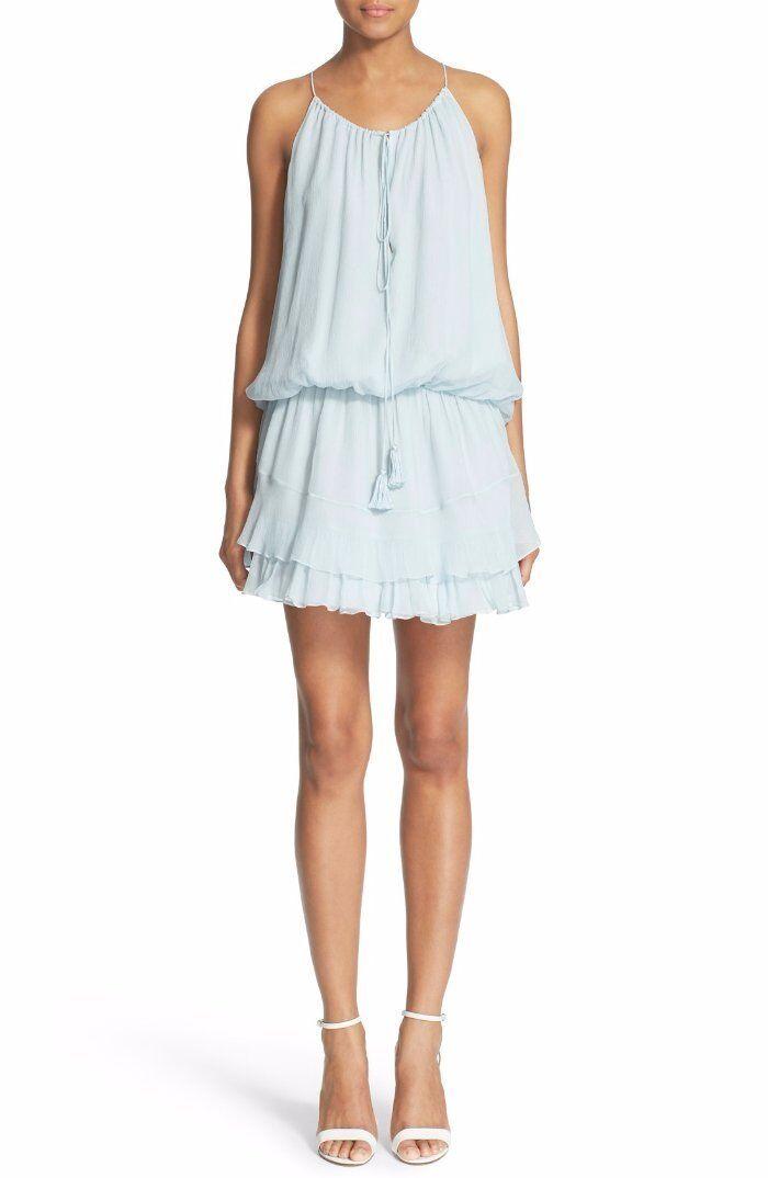 365 Elizabeth and James Dew bluee Crinkle Silk Blouson Kenji Dress S NWT E389