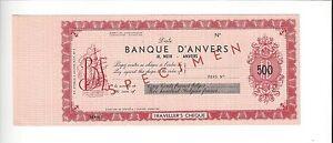 BELGIUM-BANQUE-D-039-ANVERS-500-FRANCS-SPECIMEN-TRAVELERS-CHECK-NICE-MINT
