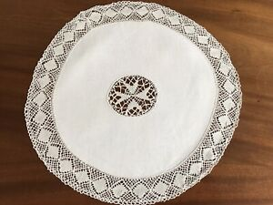 Vintage-Large-Cream-Linen-Needlework-Lace-Table-Centre-Doily-Cloth-16-5-Inches