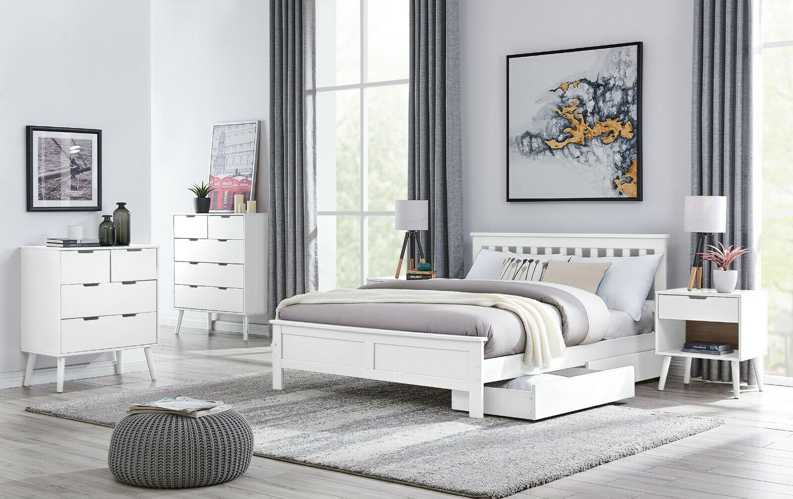 Azure Wooden Single Double King White Grey Bed Frame Storage Drawers Mattress Ebay