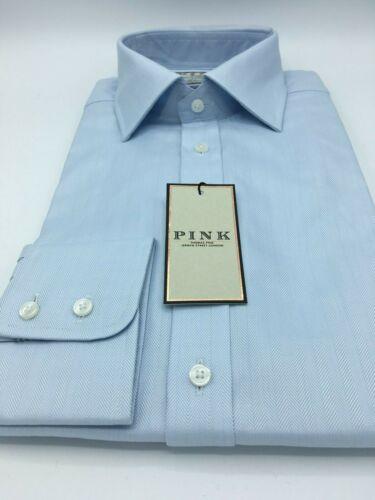 BNWT RRP: £115! EU:39L UK:15.5L THOMAS PINK 2-Fold L//BLUE HERRINGBONE SHIRT
