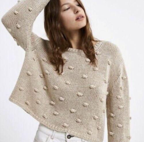 Zara Beige Chunky Knit PomPom Cropped Sweater Sz L