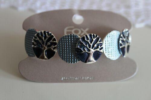 Armband Armreif Damen  Edelstahl dehnbar silber Lebensbaum blau