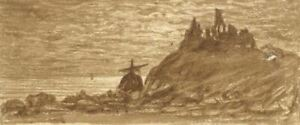 E-Venis-Hastings-Castle-Late-19th-century-sepia-watercolour-painting