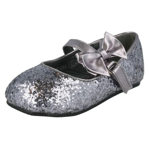 GIRLS SPOT ON FLAT SILVER SPARKLY GLITTER PARTY BRIDESMAIDS BOW SHOES H2R305