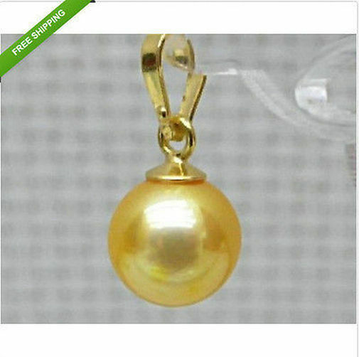 Perfect AAA+++ round 11-12mm golden south sea pearl pendant 14k gold+box