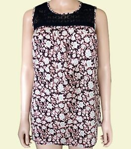 NEW-Ex-M-amp-S-Ladies-Navy-Floral-Casual-Sleeveless-Cotton-Summer-Top-Size-10-24
