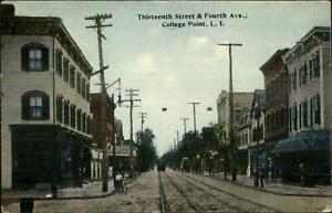 College-Point-Long-Island-NY-Thirtheenth-St-amp-Fourth-Ave-c1910-Postcard