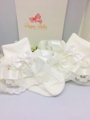 Handmade White beads bow girls frilly socks various sizes