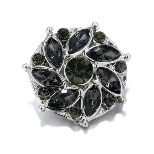 10pcs//set Rhinestone 18mm Alloy Snap Buttons Fit Noosa Necklace Bracelet N334
