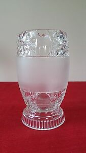 EAPG-LENS-amp-STAR-CELERY-VASE-O-039-HARA-GLASS-US-1887-VICTORIAN-ANTIQUE-OVAL-FROSTED