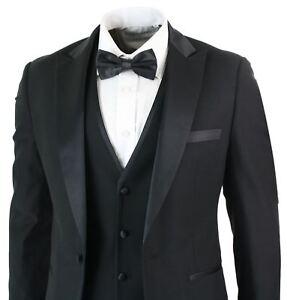 Costume homme 3 pièces noir satiné style classique smoking coupe ... 103fbffc9dd