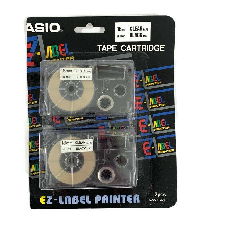 Black on Clear Casio XR-18X2S 18mm Labelling Tape