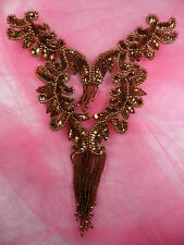 """0510 Bronze Brown Bodice Yoke Sequin Beaded Applique Sewing Patch Motif  10"""""""