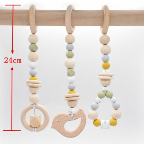 Bird Silicone Beads Teething Play Gym Toys Wooden Baby Sensory Stroller Teether