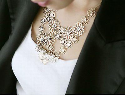 1PC Lady Fashion Chain Jewelry Flower Bib Choker Pendant Statement Necklace
