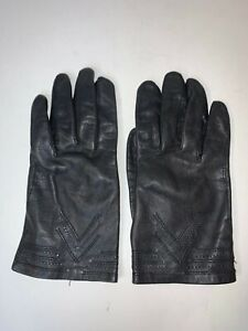 Women-Black-Leather-Top-3-V-Stitch-Insulated-Line-Glove-Vent-on-Palm-Size-8