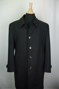 Luigi Bianchi Mantova Gray Herringbone Wool Mens Dress Overcoat Sz 42