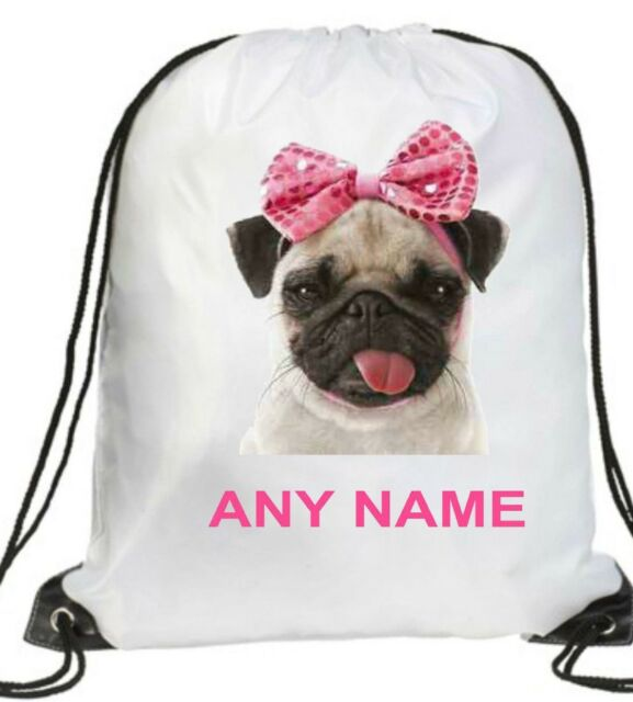 97ec3bff6ae4 PERSONALISED GIRL cute pink bow PUG DOG Gym BAG Swimming PE Dance School  GIFT