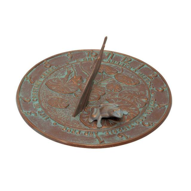 Whitehall Products Garden Sundial Decor Outdoor Backyard Copper Verdigris Frog