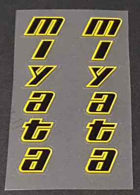 1 Pair Black//Yellow Miyata Team-Miyata Top Tube Decals sku Miya240