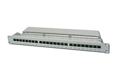 """24Port Patchpanel CAT5e DIGITUS DN-91524S 1HE vollgeschirmt Gigabit 19"""" Montage"""