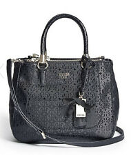 GUESS Marian G Logo Embossed Satchel Handbag Purse Quiletd Black