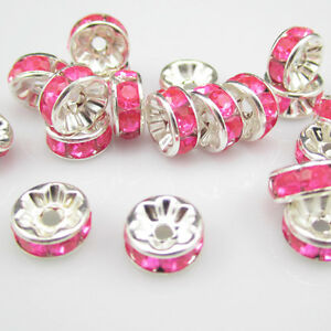 Charm-NEW-for-DIY-jewelry-20pcs-8MM-Plated-silver-crystal-spacer-beads-NOV13