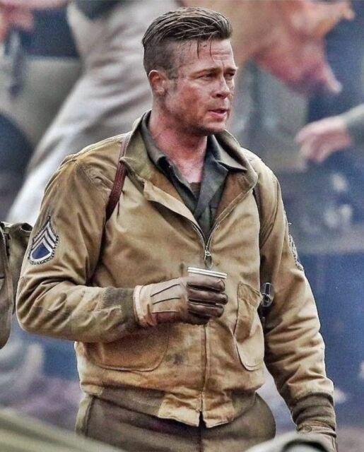FURY BRAD PITT BOMBER TANKER ARMY WW2 PILOT MILITARY FIELD MENS COTTON JACKET