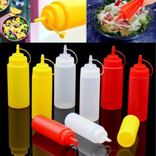 8,12,16,24Oz Squeeze Bottle Set Squirt Condiment Bottles with Tip Cap Lids US