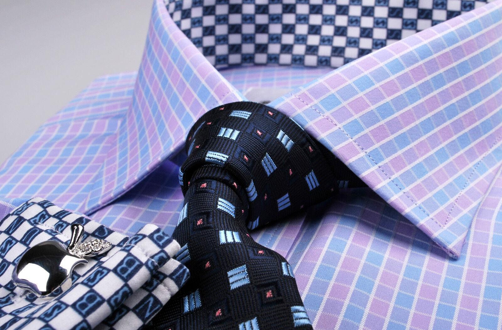 lila Blau Contrast Formal Geschäft Dress Shirt Boss Button or B2B French Cuffs