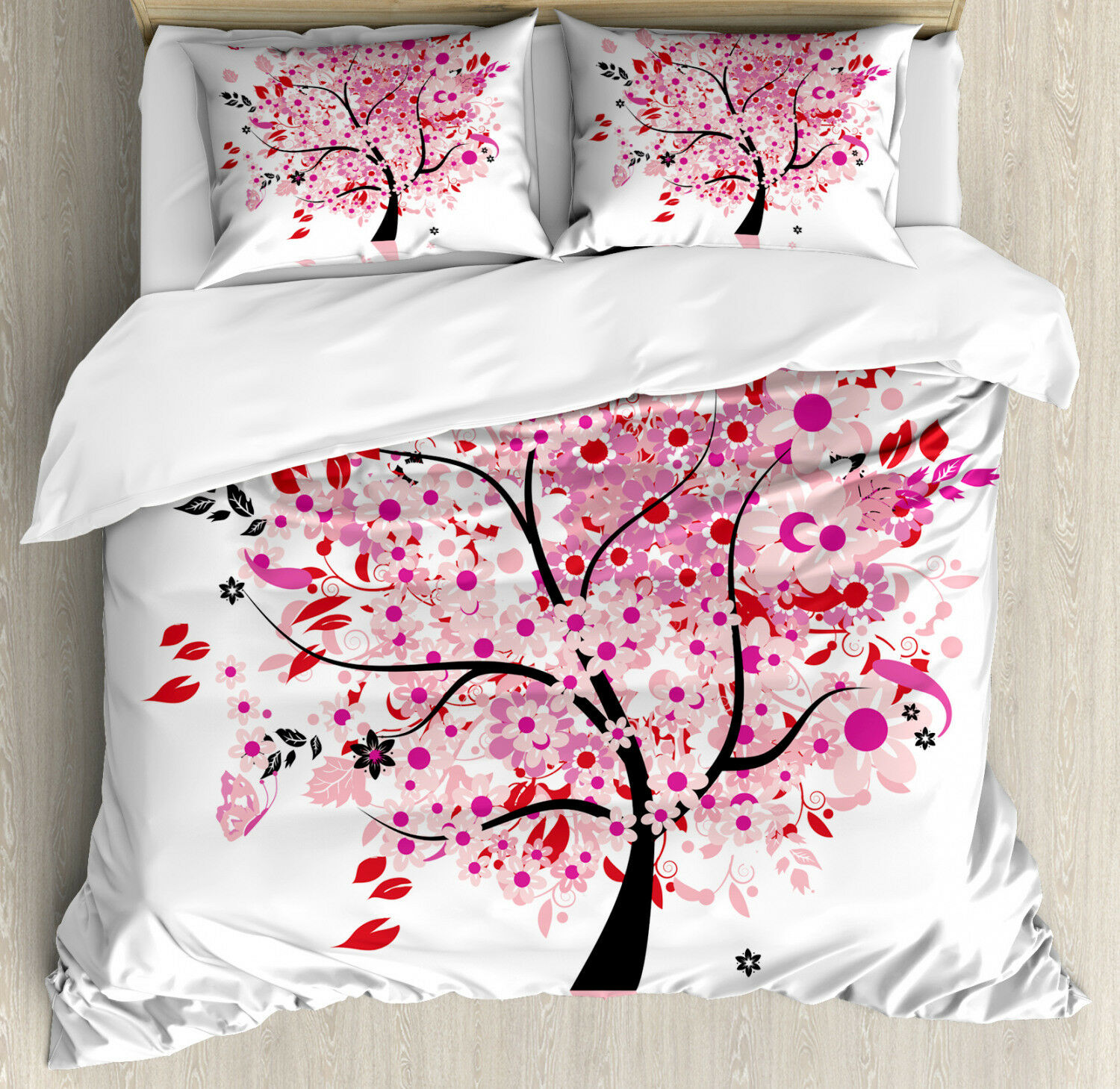 Tree Duvet Cover Set with Pillow Shams Abstract Tree and Flowers Print