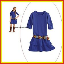 American Girl CL LE SAIGE DRESS & BELT SIZE 14 for Girls Blue Meet Outfit NEW