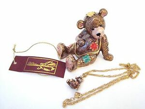 Jeweled-Trinket-Hinged-Box-Patched-Up-Percy-Teddy-Bear-with-matching-necklace