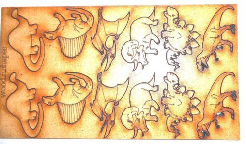 12x WOODEN DINOSAUR SHAPES gift tag craft card making scrapbook embellishment
