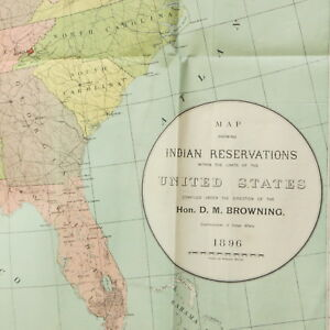 Antique Map of Indian Reservations in United States Vtg 1896 | eBay