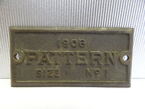 Antique Old 1906 Pattern Size No 1 Factory Bronze Tag Rectangular Small Label