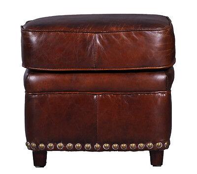 Cincinnati VC Fußhocker braun Vintage Leder Hocker Lederhocker Möbel Repro NEU