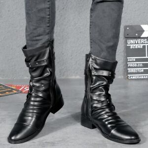 Retro Men's Gothic Rock Ankle Boots