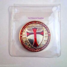 "Knight Templar 1.5"" two face Coin Golden Heavy Alloy With Case Templar Gift Mil"