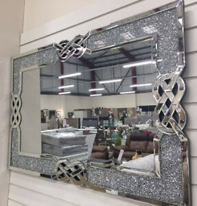 Crushed-Diamante-Crystal-Celtic-Knot-Swirl-Cross-Large-Rectangle-Wall-Mirror
