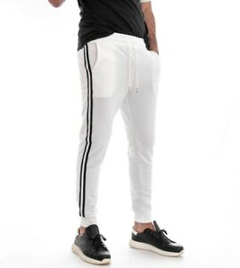 Pantalone-Uomo-Tuta-Elastico-Tinta-Unita-Bianco-Righe-Laterali-Cavallo-Basso