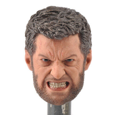 """1//6 Scale Wolverine Angry Face Head Carving Model Fit 12/"""" Male Action Figure"""