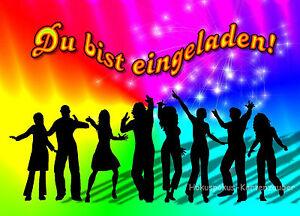Das Bild Wird Geladen 8 Einladungskarten Disco Geburtstag Kinder  Kindergeburtstag NEU Einladungen