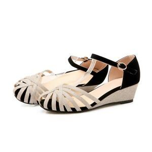 Summer-Ladies-Cut-Out-Gladiator-Sandals-Ankle-Strap-Wedge-Heel-Casual-Shoes-NEW