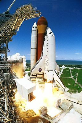 Nasa Discovery Shuttle Launch Fish Eye 8x12 Silver Halide Photo Print Drip-Dry Astronauts & Space Travel